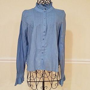 NWOT Women's Love Sam blue cotton blouse